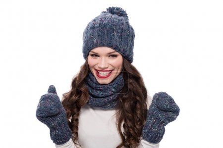 Cheerful woman in warm clothes