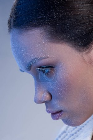 woman covered in frost