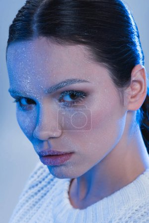 woman with frost on face