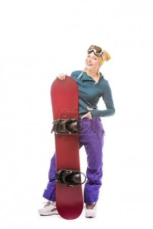 young woman with snowboard