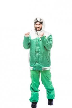 man in snowboarding costume