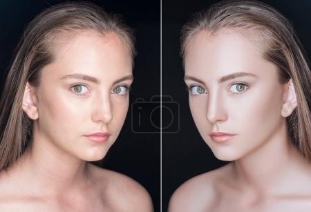 Photo pour Visage de belle adolescente avant et après retouche en regardant la caméra isolée sur noir - image libre de droit