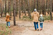 family walking by forest