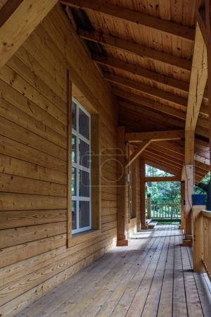Photo for Wooden terrace in modern cottage house - Royalty Free Image