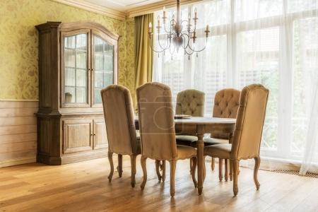 table and chairs in classic interior