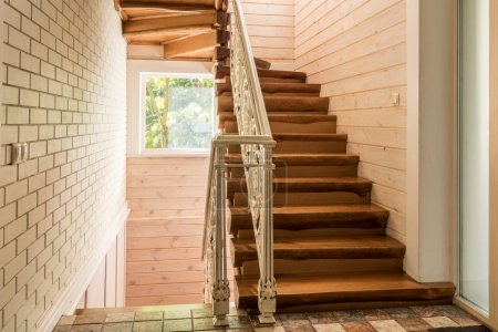 Photo for Empty staircase in modern cottage house - Royalty Free Image