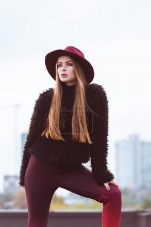 woman in stylish autumn outfit
