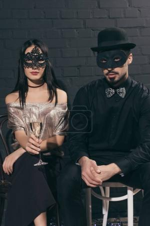multiethnic couple at new year party