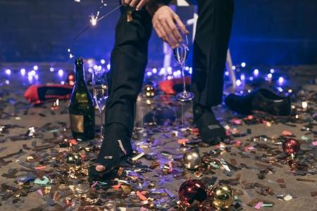 Man with ripped sock at christmas party