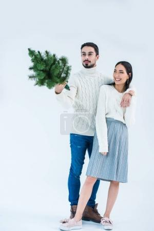 multicultural couple with christmas tree