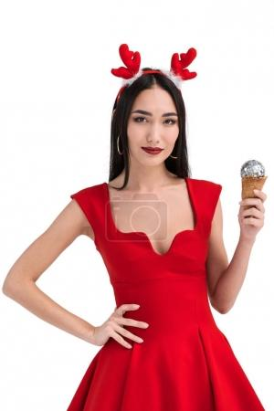 asian woman on deer costume with ice cream cone