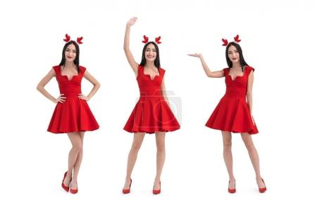Photo for Collage of pretty asian woman in deer costume isolated on white - Royalty Free Image