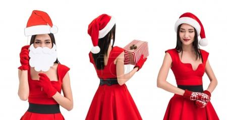 Photo for Collage of beautiful asian woman in santa costume isolated on white - Royalty Free Image