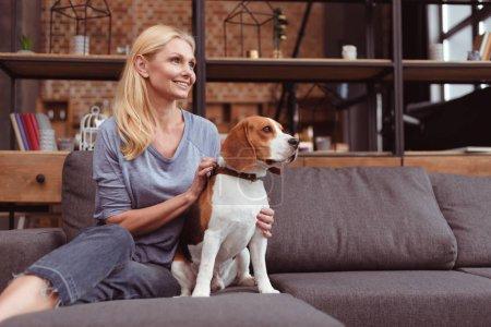 Photo pour Jolie femme blonde regardant loin tout en étant assis avec chien beagle sur le canapé - image libre de droit