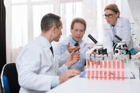 Scientists examining sample