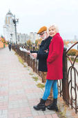 senior tourist couple with map