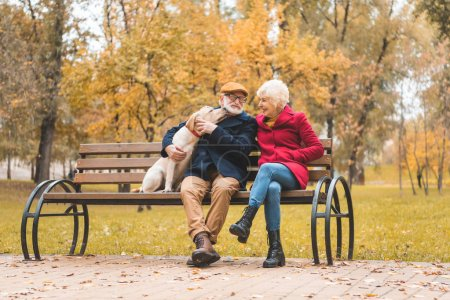 Photo for Senior couple with labrador retriever dog sitting on bench in autumn park - Royalty Free Image