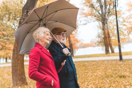 senior couple with umbrella in park