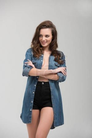 seductive girl in denim shirt