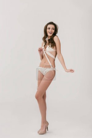 sexy girl in white lingerie