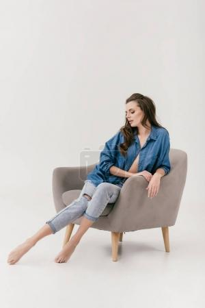 sexy woman in denim clothes