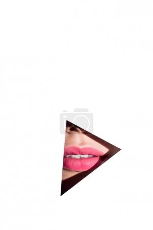pink lips behind triangle hole