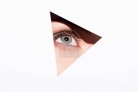 Photo for Close-up shot of woman looking out of hole with one eye isolated on white - Royalty Free Image