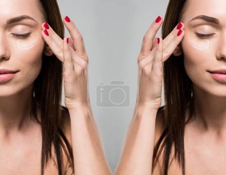 Photo pour Visage de la belle jeune femme, appliquer la crème pour le visage avant et après retouche isolé sur fond gris - image libre de droit