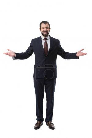 Photo pour Joyeux succès homme d'affaires en costume geste isolé sur blanc - image libre de droit
