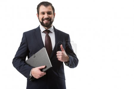 businessman with folder and thumb up