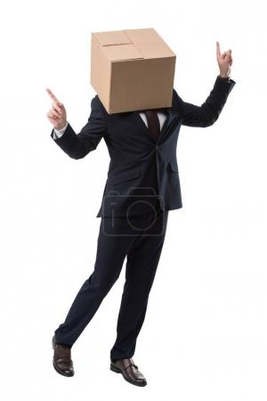 happy businessman with box on head