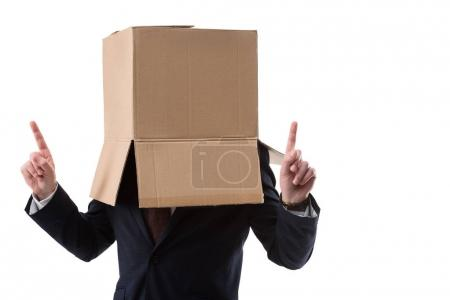 Photo for Businessman with cardboard box on head pointing up and have idea, isolated on white - Royalty Free Image