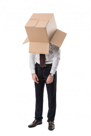 Photo for Exhausted businessman with cardboard box on head, isolated on white - Royalty Free Image
