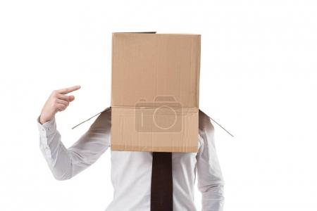 businessman pointing on cardboard box