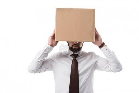 Photo pour Homme d'affaires avec une boîte en carton sur la tête, isolé sur blanc - image libre de droit