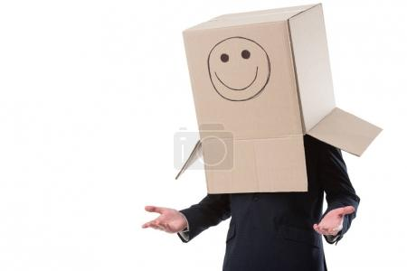 businessman with box with smile sign