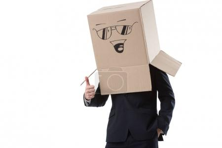Photo pour Homme d'affaires avec boîte à sourire signent la tête montrant le pouce vers le haut, isolé sur blanc - image libre de droit