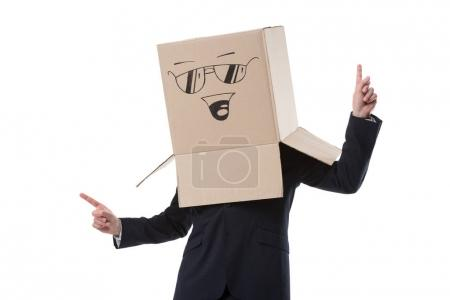 Photo for Successful businessman with box with smile sign on head pointing up, isolated on white - Royalty Free Image