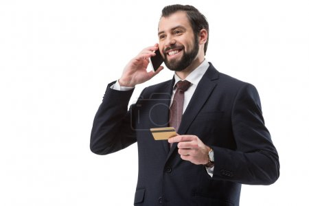 businessman with credit card and smartphone