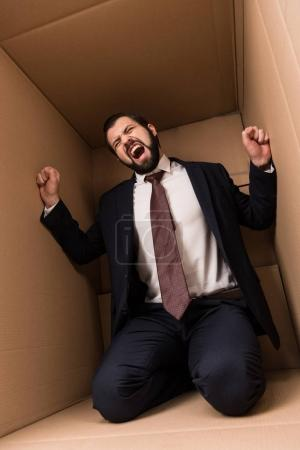 businessman screaming in box