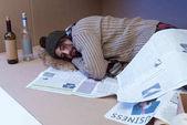 sleeping homeless man