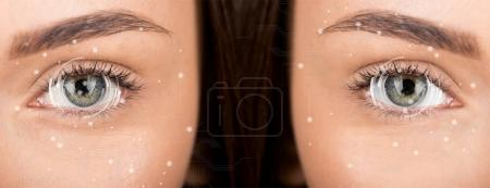 eyes of woman before and after retouch