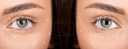 Photo pour Gros plan des yeux de femme avant et après retouche - image libre de droit
