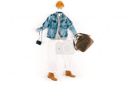 fashionable clothes with camera and bag