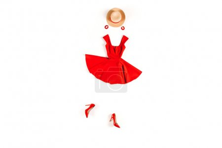 red dress and accessories