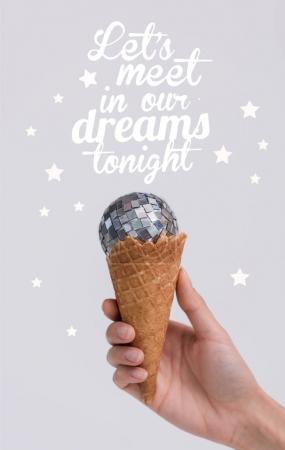 ice cream cone with christmas ball