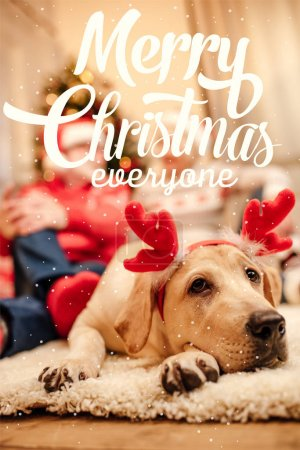 """Photo for Cute labrador retriever dog with christmas reindeer antlers, senior couple sitting behind, with """"merry christmas everyone"""" lettering - Royalty Free Image"""