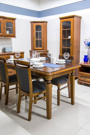 modern kitchen interior with furniture and dishes