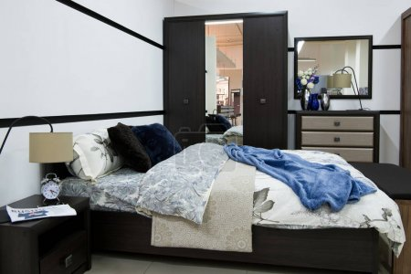 cozy modern bedroom interior with bed