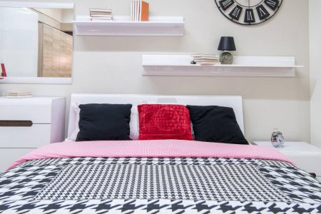 Photo for Cozy modern bedroom interior with bed - Royalty Free Image
